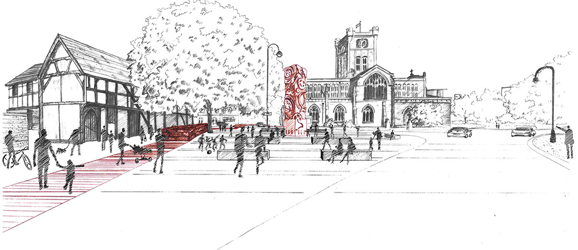 Sketch of sculptural monument to commemorate Spon Street's watchmaking history